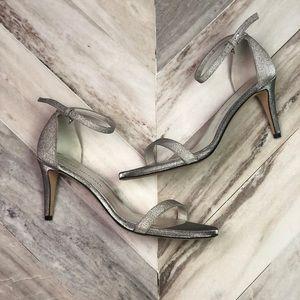 NWT Stuart Weitzman Nunaked Platinum Glitter Heels